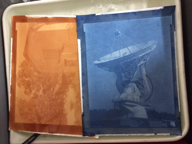 An 11x14 straight uranotype can be seen on the left, and a cyanotype/uranotype hybrid on the right. Both images were captured using 11x14 film at the Green Bank National Radio Astronomy Observatory.